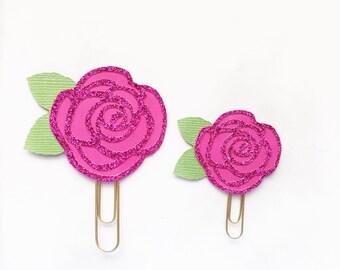 Fushia Rose Paper Clip / Planner Clip