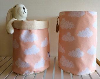 SALE - Set of 2 eco canvas Storage Basket, toy storage, nursery storage, fabric basket, cloud print, baby shower gift basket, storage