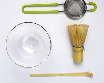 Matcha tea set - Bowl, whisk, sieve & spoon
