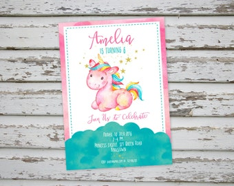 Unicorn invitation, Unicorn Thank You Card, Unicorn party, Unicorn Birthday Invite, Unicorn invitations DIY