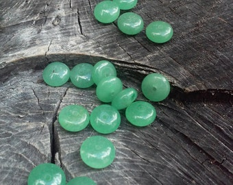 8mm Rondelle Shape Green Aventurine Disc Spacer Beads, 10 in a set