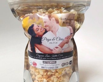 Custom Popcorn Favors - Custom Wedding Favors - Custom Business Gifts - Personalized Bags - Guest gifts - Includes popcorn