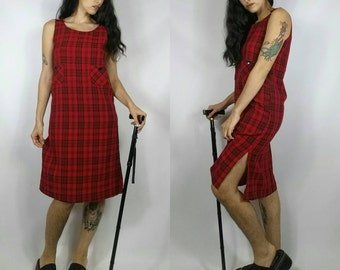 """Vintage 1990s Red Plaid Grunge Button Midi Shift Dress size S (bust 36"""")"""