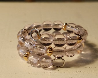Adjustable Memory Wire Ring with Round Pale Pink Glass Beads with Gold Plated Spacers