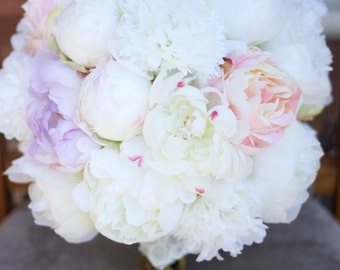 Silk peony peonies bridal wedding bouquet made to order