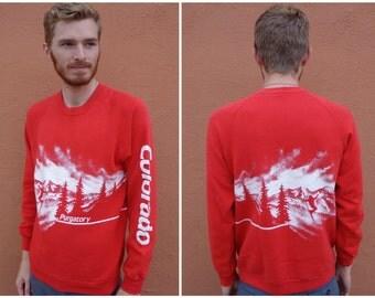 LARGE 80s Purgatory, Colorado Ski Resort Wrap Around Crazy Graphics Sweatshirt