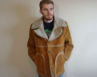 LARGE 70s Shearling Suede Leather Wool Marlboro Man Western Jacket