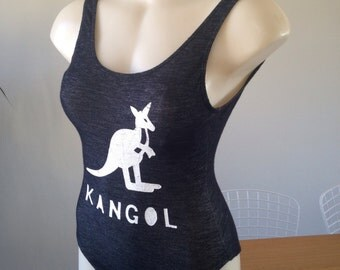 90s KANGOL black denim look 1p swimsuit