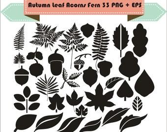 Autumn Leaf Acorns Fern Plant Four Leaf Clover  Clipart Silhouette Vector Clipart PNG EPS Digital Files Scrapbook Supplies Instant Download