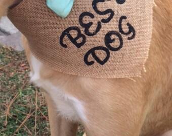 Best Dog Wedding burlap Bandana
