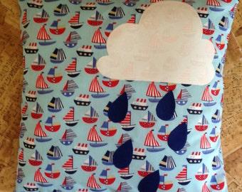 Raincloud Appliqué Cushion Cover