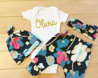 Baby Girl Coming Home Outfit / Blue Floral / Knot Hat Headband
