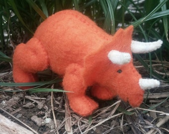 Personalized, Hand Stitched, Stuffed, Felt Triceratops