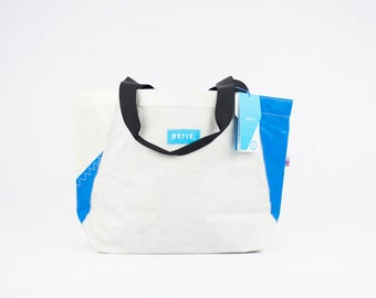 Sand Bag  - Reuse Recycle Sails Tote Bag White Blue Urban Bag, Design , Outdoors, Water resistant, Made in USA, Unique, One of a Kind