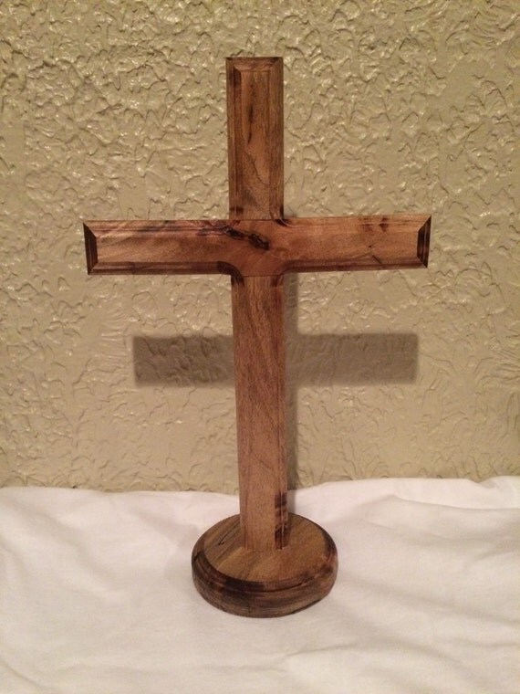 Handmade wood cross with stand bridal gift wedding
