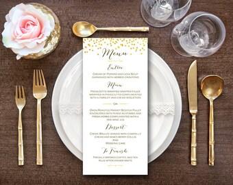 Nozze d'oro Menu nozze stampabile, Custom Menu stampabile, matrimonio Menu modello - File digitale, fai da te stampa WD47 WM22