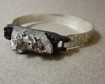 Raw stone bracelet, silver bracelet mineral cluster, pyrite and silver quartz bracelet, burnished hummered boho bangle
