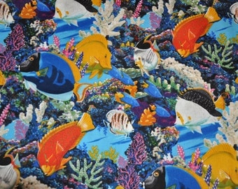Salt Water Fish 100% Cotton Quilt Fabric by David Textiles