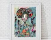 """Kunstdruck des Original Gemäldes """"She loved her Life"""" Mixed Media Bild, weibliches Porträt, Liebe Leben, Wörter, Lebensfreude, moderne Kunst"""