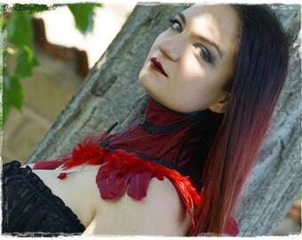 "Neck black feathers collar ""Violet Crow"""