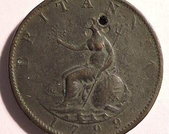 British George III Half Penny 1799 W/Hole