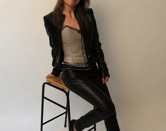 Blazer and leather pants
