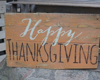 Happy Thanksgiving. Rustic pallet sign.  holiday decor. home decor