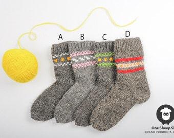 Wool socks Knitted socks Woolen Knee High Socks Hand knitted socks Hand knit socks Woolen hoziery For him For her Christmas gift [SS-5]