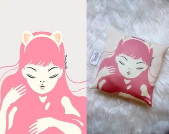 Cat Girl Pillow|Pillow|Cat Pillow|Girl Pillow|Cushion|Pink|Pink Pillow