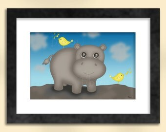 Hippo with Birds Art Print