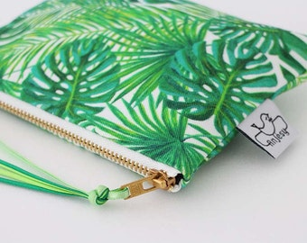 Tropical zipper pouch,Tropical printed coin purse,Original ANJESY designs,Gift for her.