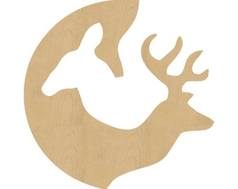 Deer and Doe Shape Laser Cut Unfinished Wood Shapes, Craft Shapes, Gift Tags, Ornaments #156 All Sizes