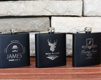 Father of the Bride Flask - Best Man Gift - Groomsmen Gift - 11 Personalized Flasks -Flasks For Men - Custom Flasks- Suncoast Laser