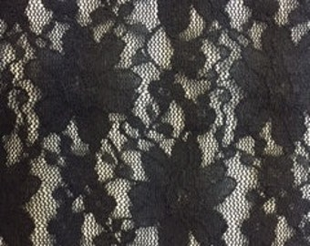 BLACK Floral Lace by the Yard
