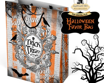 Halloween Favor Bag - Halloween Trick or Treat - Halloween Trick or Treat Bag - Instant Download - Printable Party Bag - Halloween Party
