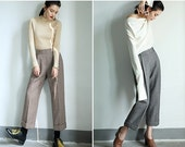 wool pants,gray pants,womens pants,winter pants,high waisted pants,pleated pants,minimalist pants,grunge pants,crop pants.--E0836
