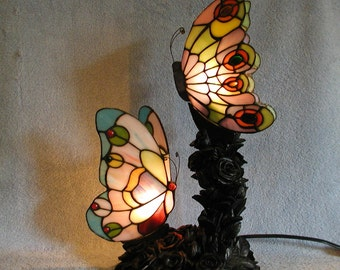 Accent Lamp - Stained Glass Butterflies
