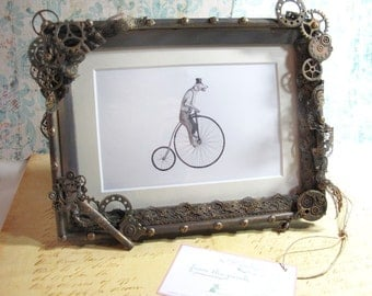 """Set of 10 4""""x6"""" Steampunk Picture Frames, Steampunk Wedding Gifts Steampunk Wedding Favors, Table Markers, Place Setting, Neo V"""