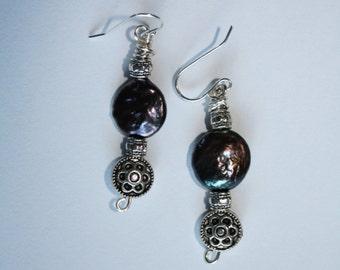 82 Genuine freshwater pearl and silver charm dangle earrings, sterling ear wires, boho, artisan