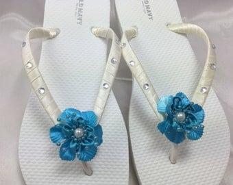 Turquoise Bridal  Flower Flip Flop, Bridal Sandals, Braidsmaid Flip Flops Beach Wedding Sandals, Wedding Flip Flops