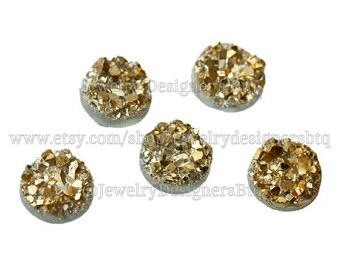8mm Gold Tone Druzy Cabochons Faux Drusy Bronze Cabochon Resin Embellishment Jewelry Supplies Earring Findings Cameo Settings Kawaii Supply