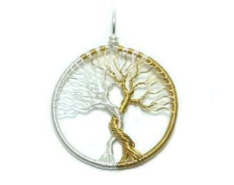 FREE SHIPPING Tolkien inspired wire wrap tree pendant, Trees of Valinor, Silmarillion, Laurelin and Telperion (small)