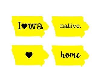 Iowa Native/Heart/Home Vinyl Decal