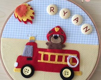 FireBear Embroidery Hoop Wall Décor - Custom Name