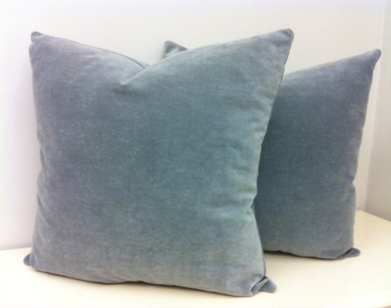 Throw Pillows On Grey Couch : Two Grey Velvet Pillow Covers Grey Throw Pillow by artdecopillow