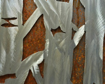Aspen tree metal wall art. Metal wall art