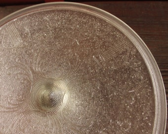Vintage Glass Cake Stand, Embossed Glass Cake Stand, Vintage Cake Stand