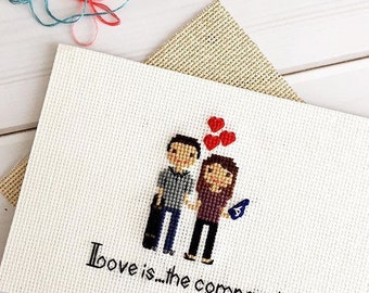 Custom 2 Character Cross Stitch Family Portrait   Housewarming Gift   Custom Portrait   Custom Cross Stitch   Custom Gift by Cloth and Twig
