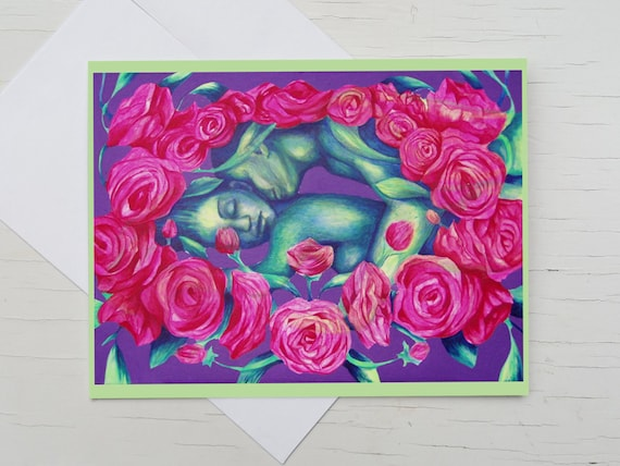 Congratulation card for wedding, greeting card kiss, pink flowers, Sleeping Beauty, St. Valentine's Day, card for lovers, anniversary card,