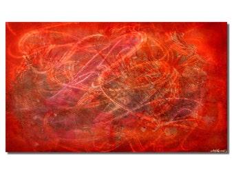 """Abstract Red Painting 'Red Star"""" Original Contemporary Metal Artwork 